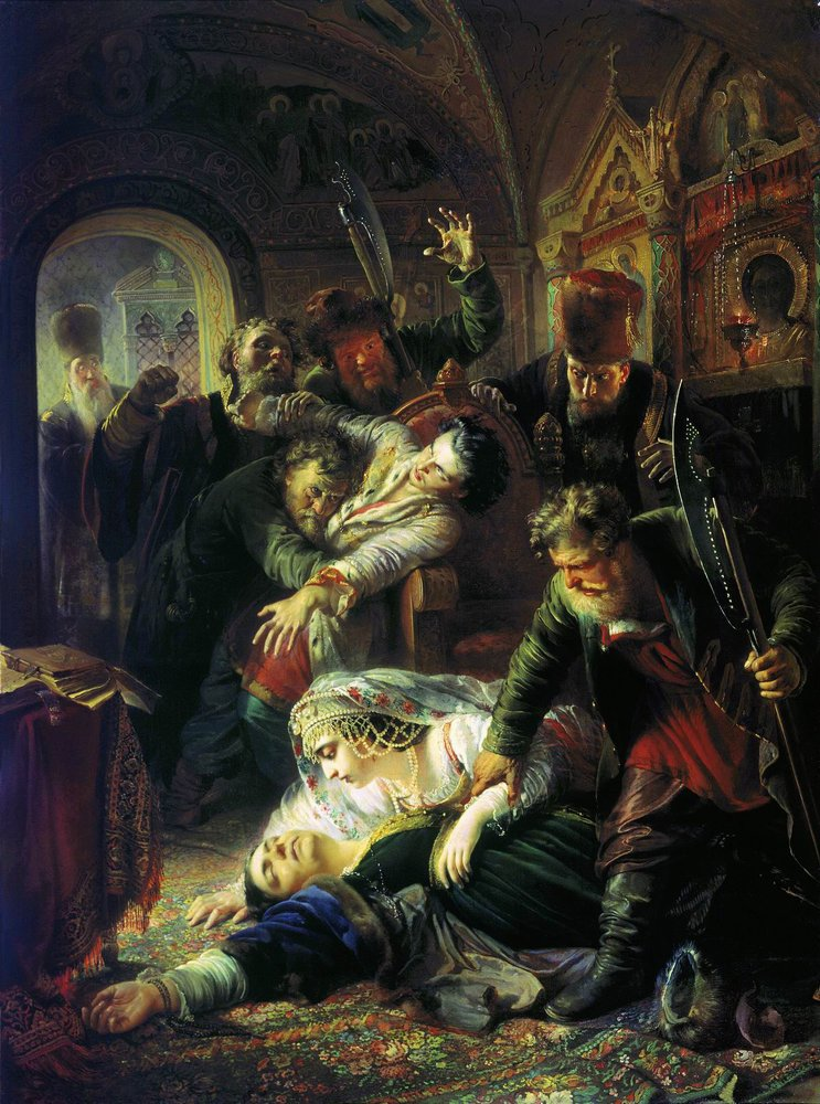 Makovsky False Dmitrys agents murdering Feodor Godunov and his mother 1862